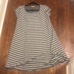 Grey and white striped casual dress